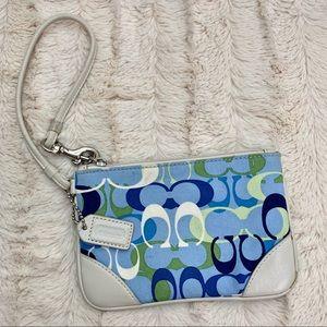 Coach Mini Wristlet Jacquard Blue. Clean